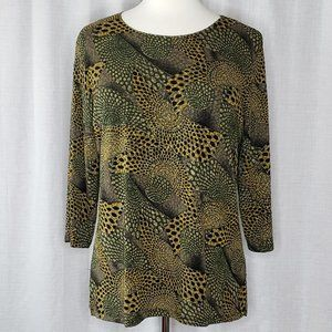 JM Woman Collection Tunic Blouse Animal Print, 2X